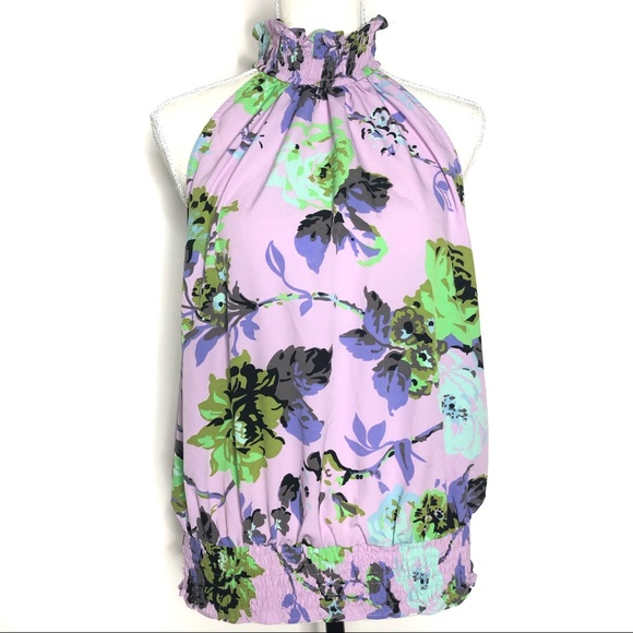 ASOS Tops - ASOS Purple Floral High Neck Top Size 14